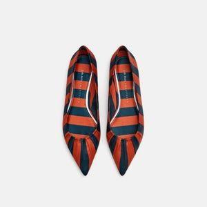 NWT Zara Point Toe Stripped Ballerina Flats